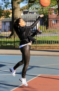 42a36f847b0 Khloe and Kim Kardashian donned unsuitable clothing for a game of  basketball in New York yesterday. Khloe had a pair of bondage-style high  heeled boots on ...